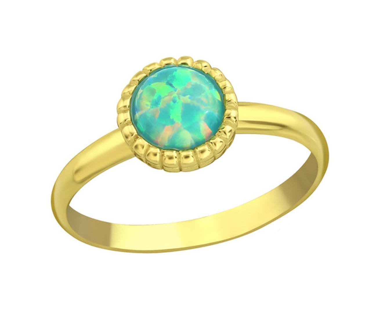 Sterling Silver Round Opal Midi Ring