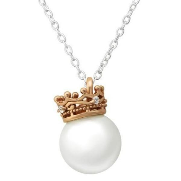 Silver Crown & Pearl Necklace