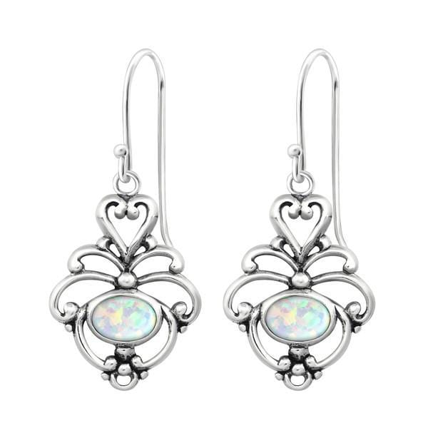 Sterling Silver Flower Opal Earrings