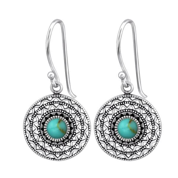 Silver Turquoise Ethnic Earrings