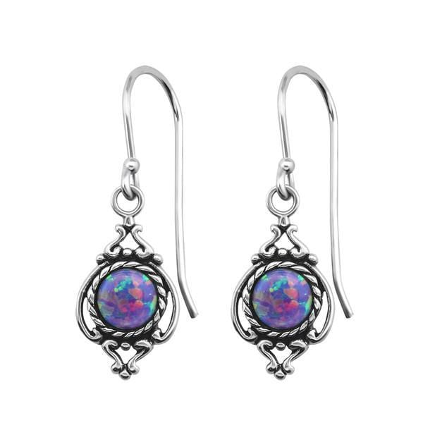 Silver Opal Marquise Earrings