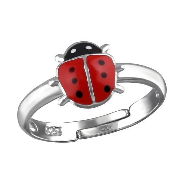 Silver Ladybug Ring For Kids
