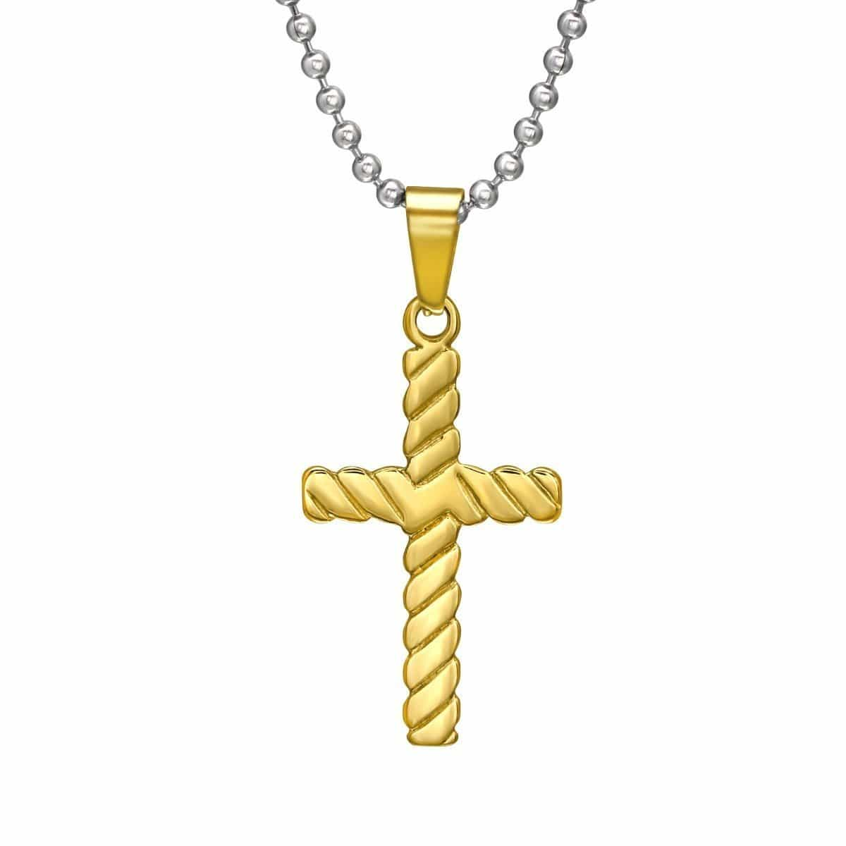 Gold Plated Steel Cross Necklace