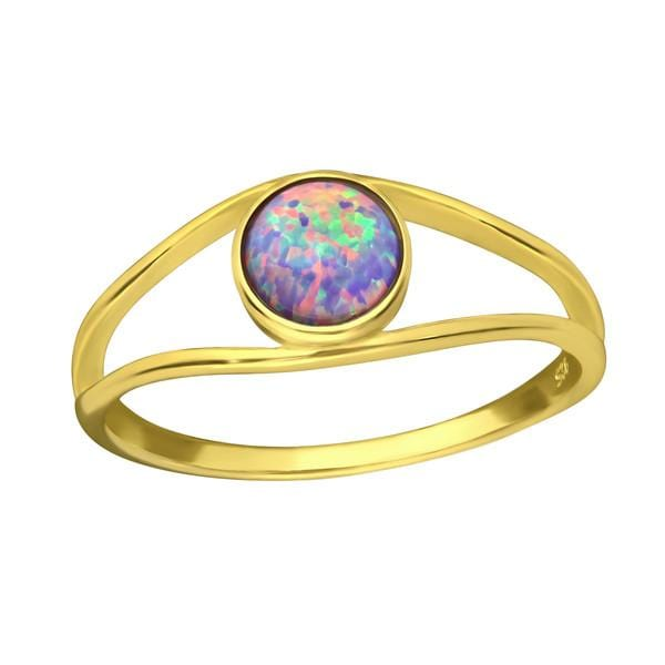 14 K Gold Plated Opal Round Ring With Multi Lavender