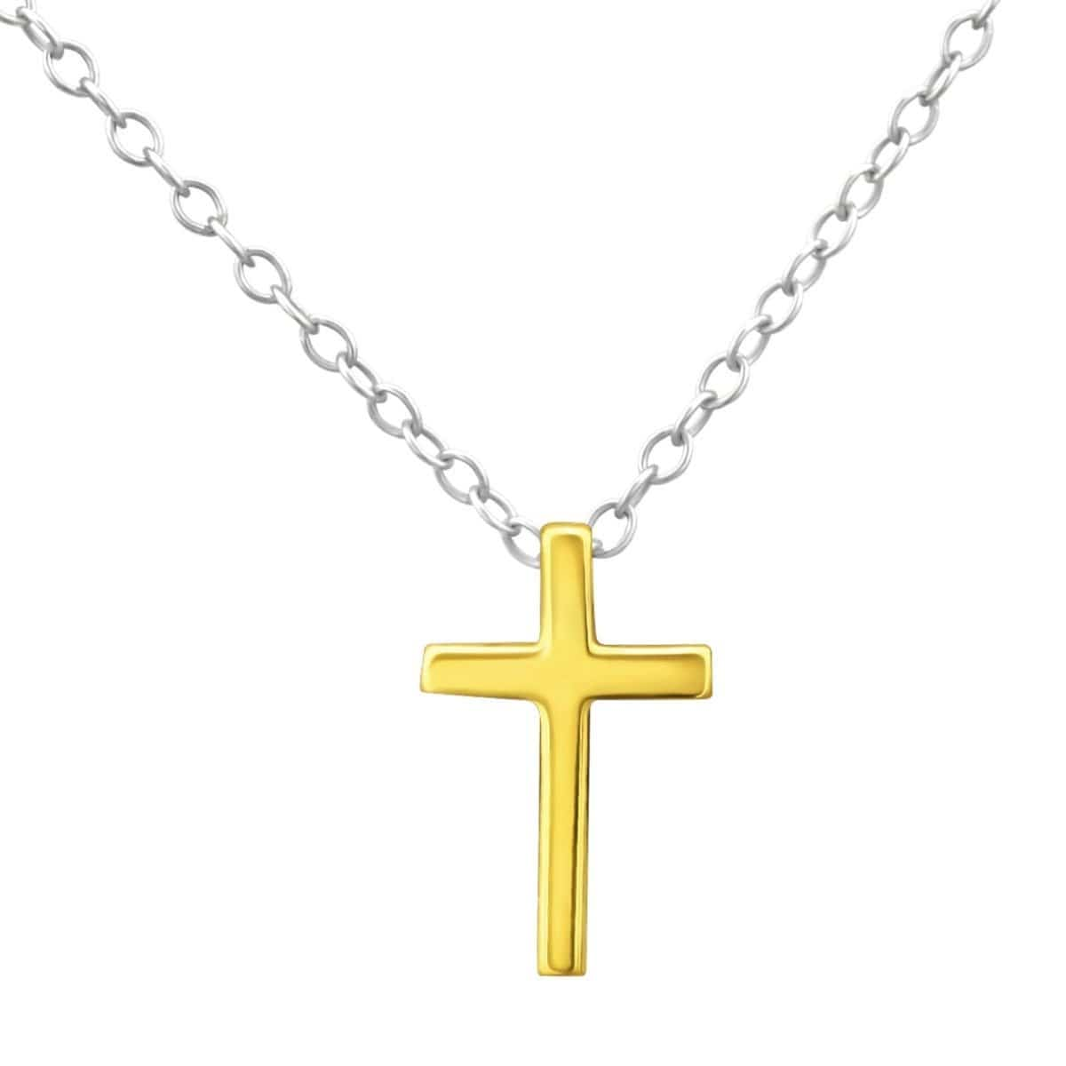 Gold Plated 925 Sterling Silver Cross Necklace