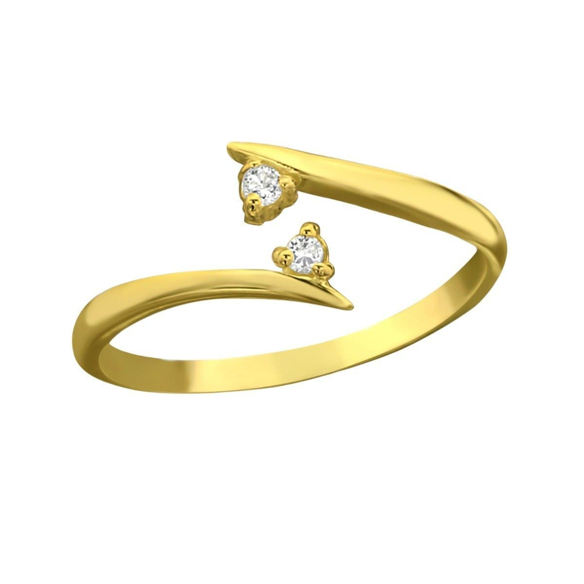 Sterling Silver CZ Gold Toe Ring