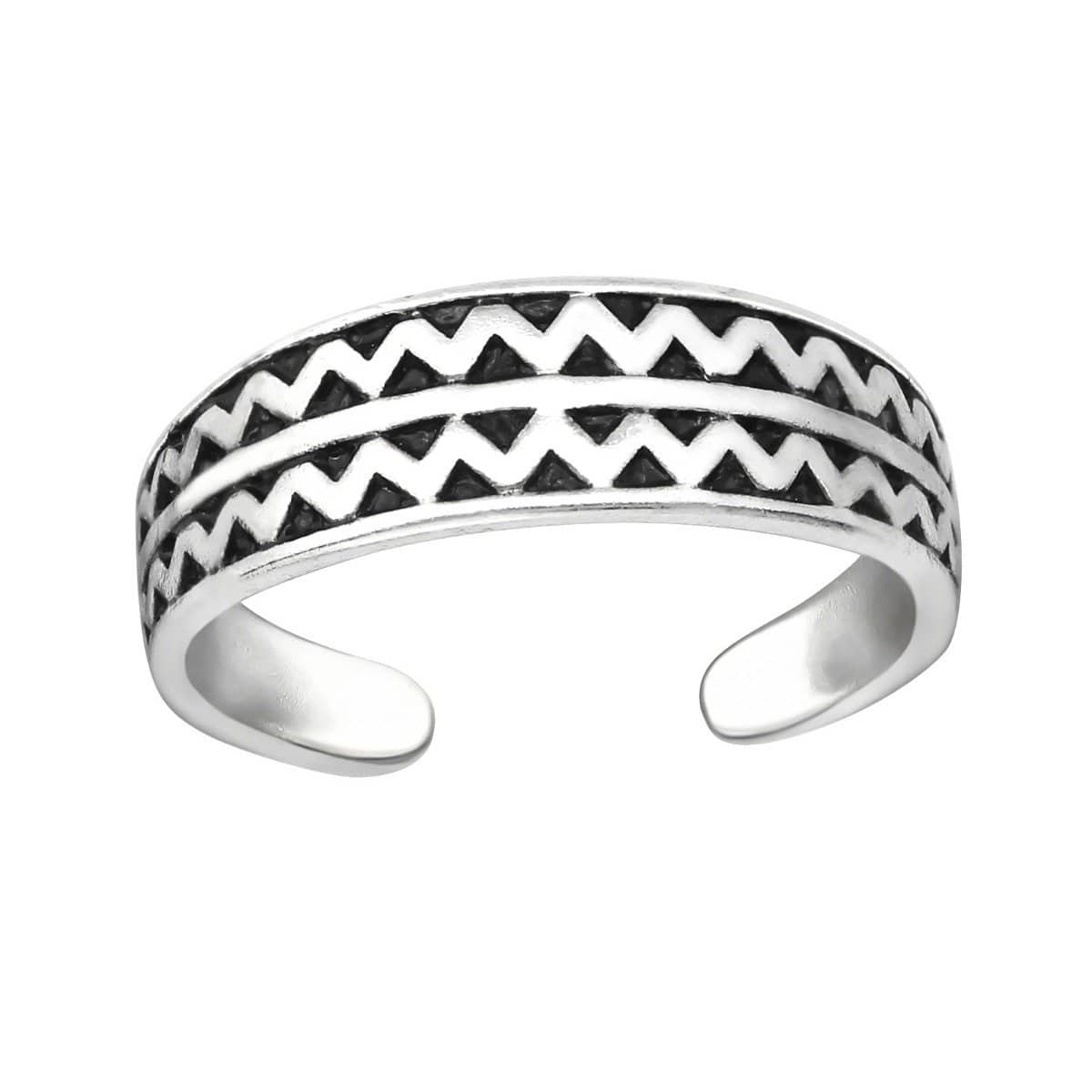 Sterling Silver ZIg Zag Patterned Toe Ring