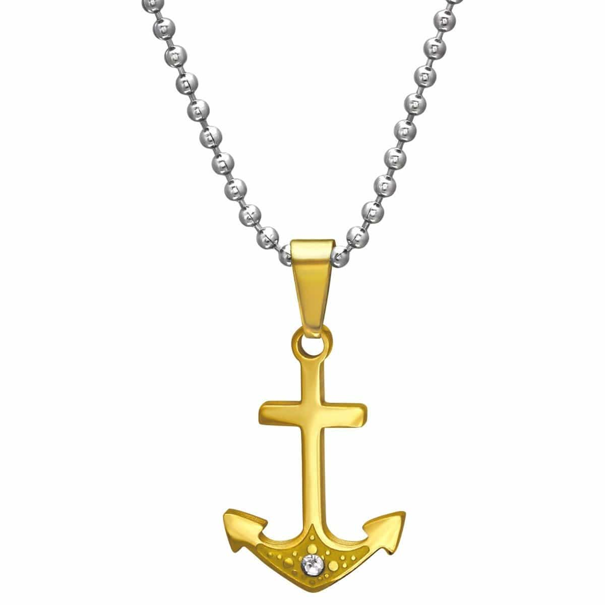 Gold Anchor Crystal Necklace