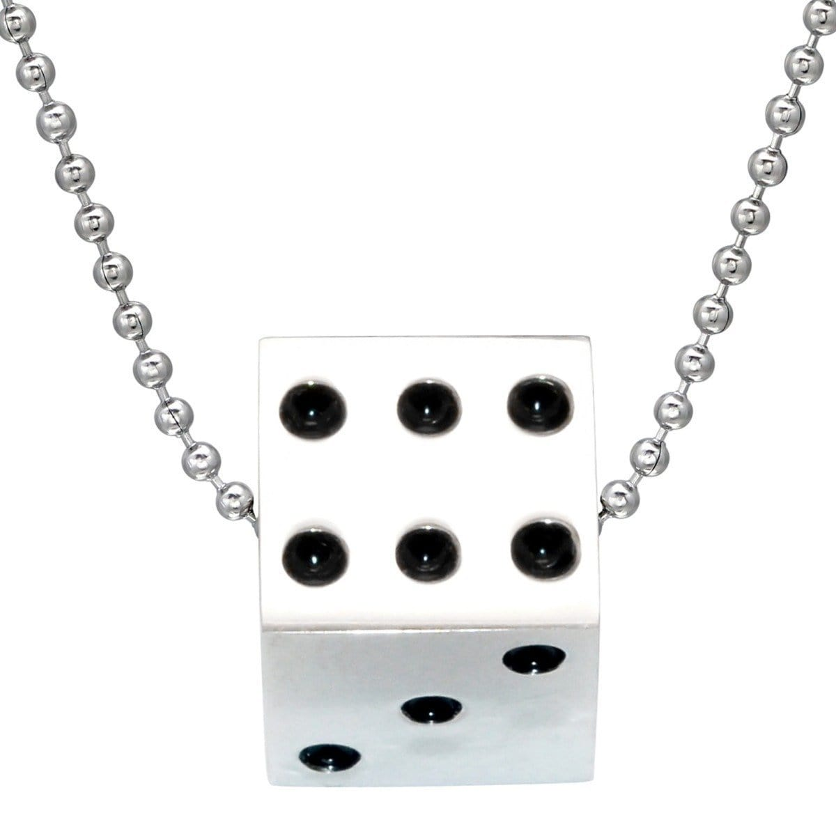 Stainless Steel Dice Pendant Necklace