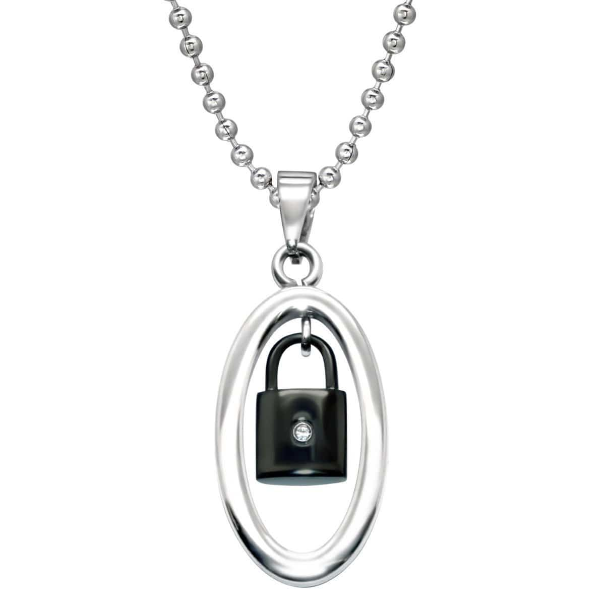 Stainless Steel CZ Lock Pendant Necklace