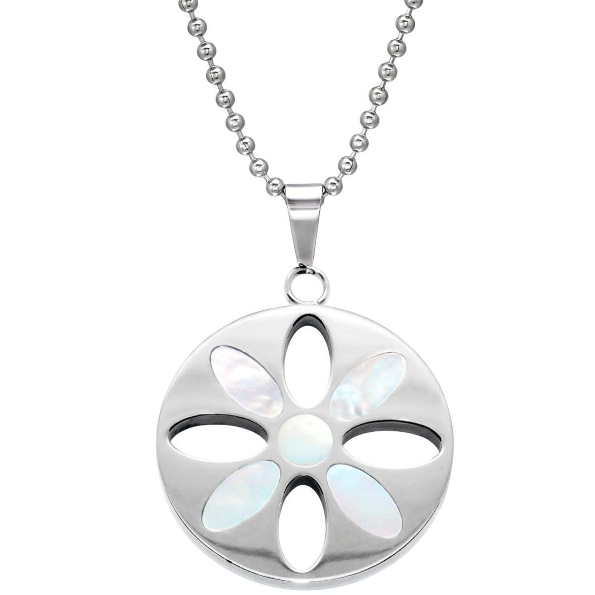 Stainless Steel Flower  Pendant Necklace with Shell