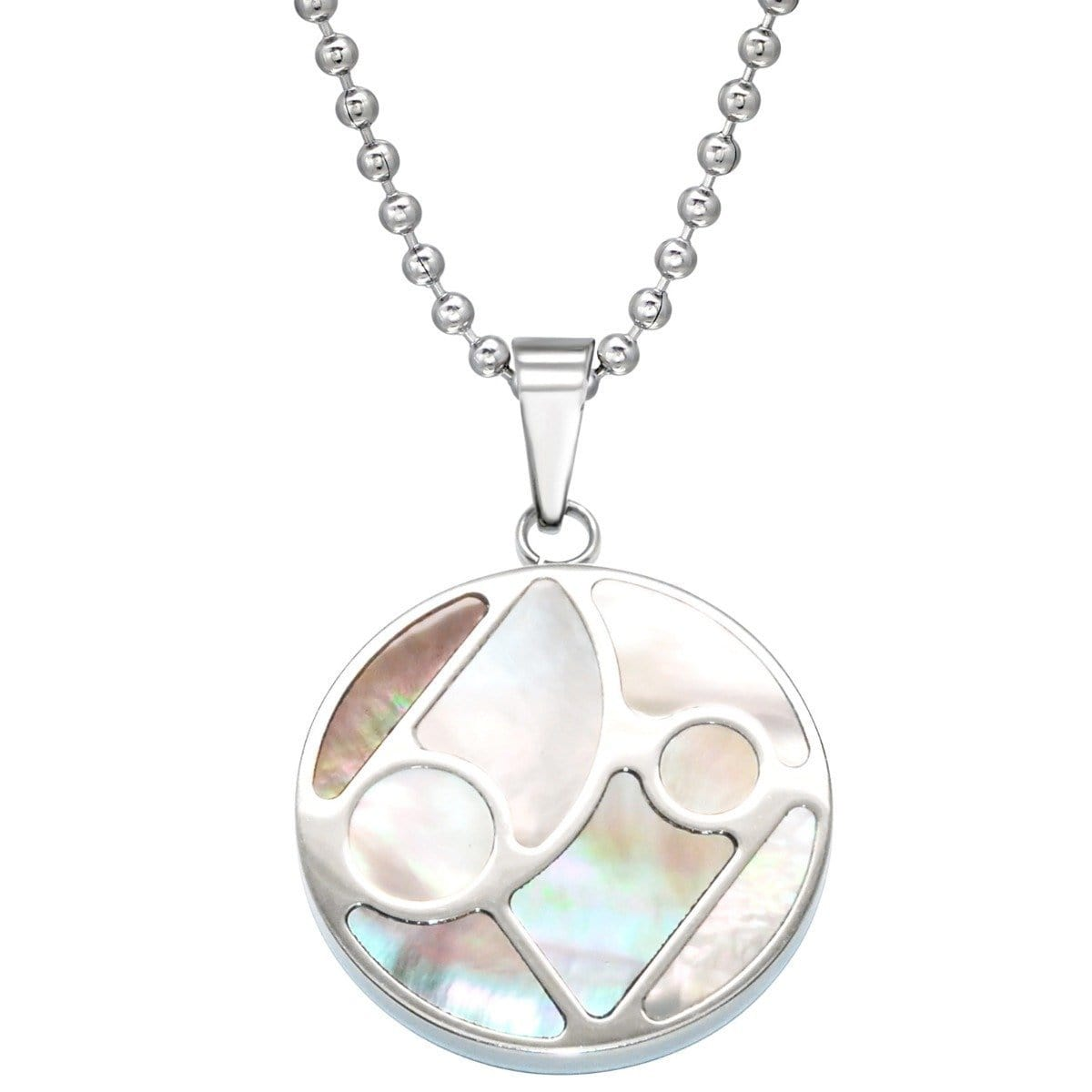 Mosaic Steel Pendant Necklace with Shell