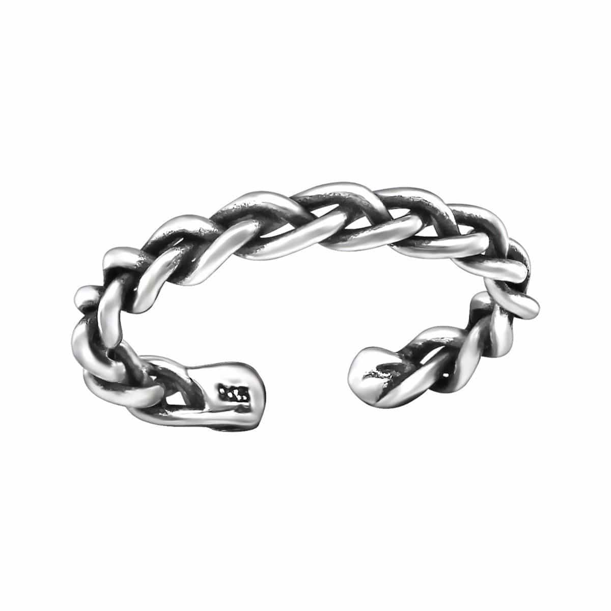 Sterling Silver Oxidised Chain Toe Ring