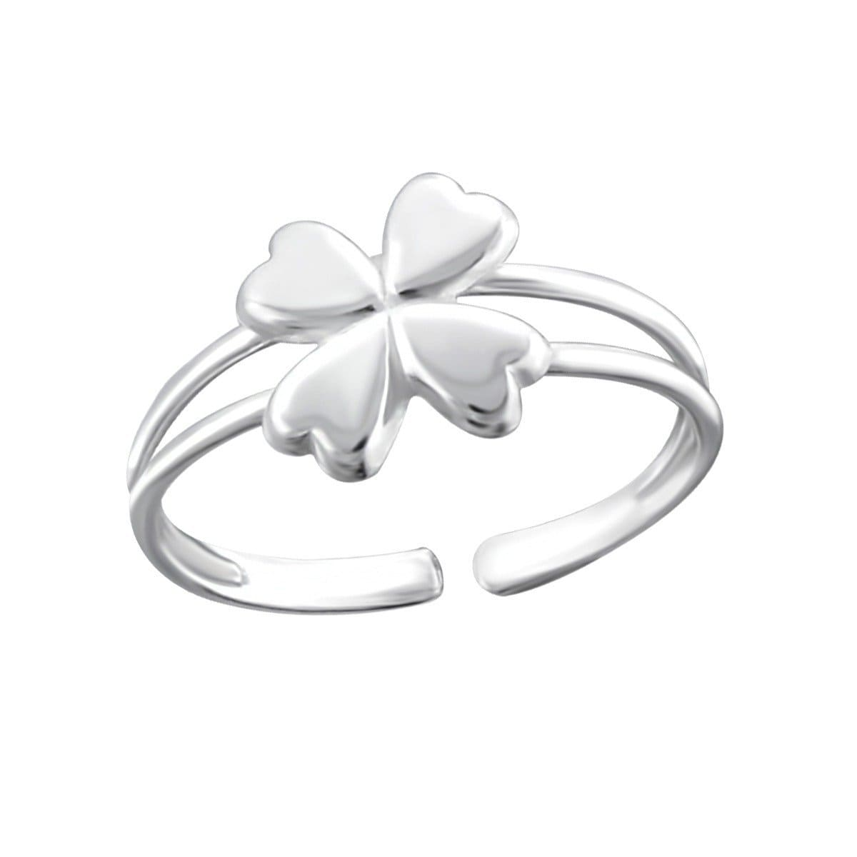 Sterling Silver D Flower Toe Ring