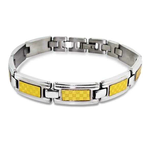 Stainless Steel Silver & Gold Tagged Bracelet For Men