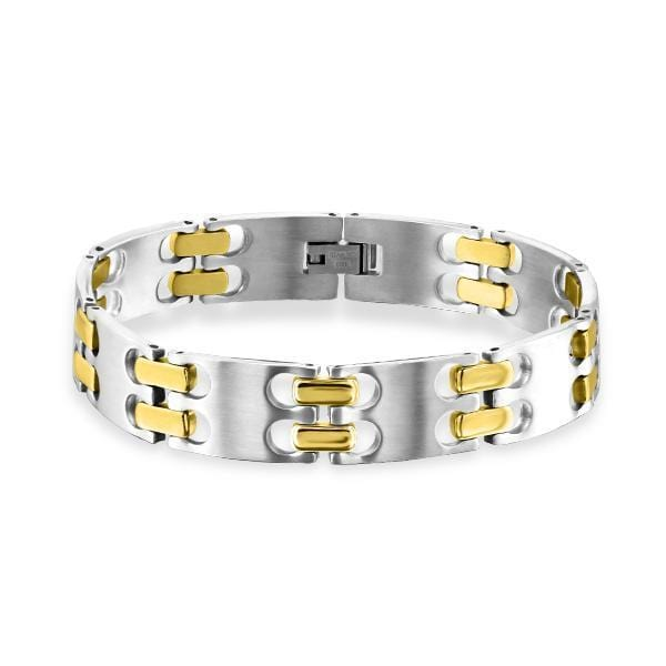 Two Tone Gold And Silver Steel Link Bracelet For Men