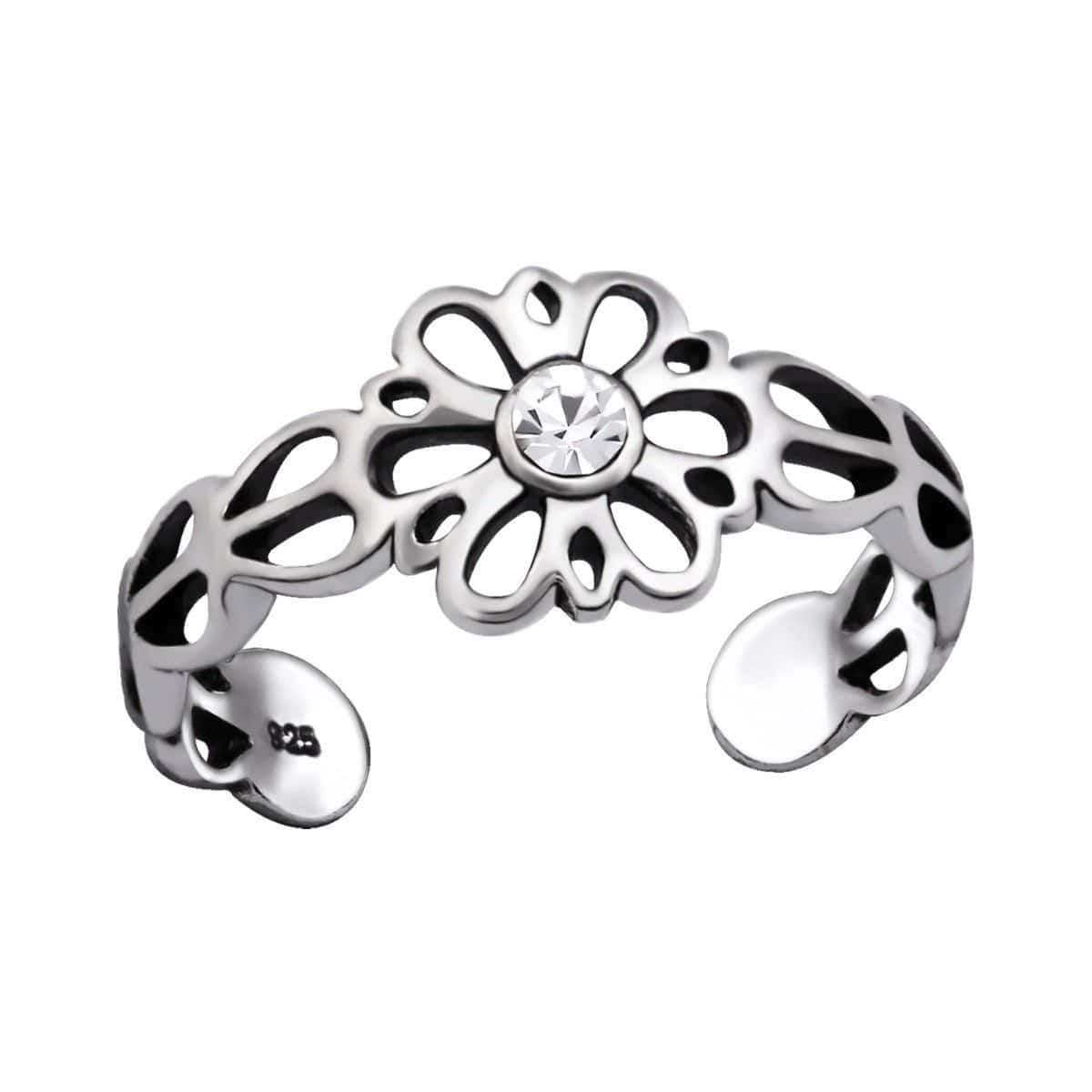 Sterling Silver Flower Crystal Toe Ring
