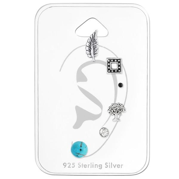 Silver Bali  Mix  Earrings Set