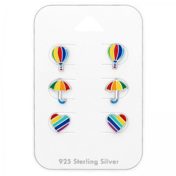 Silver Rainbow Ear Studs Set