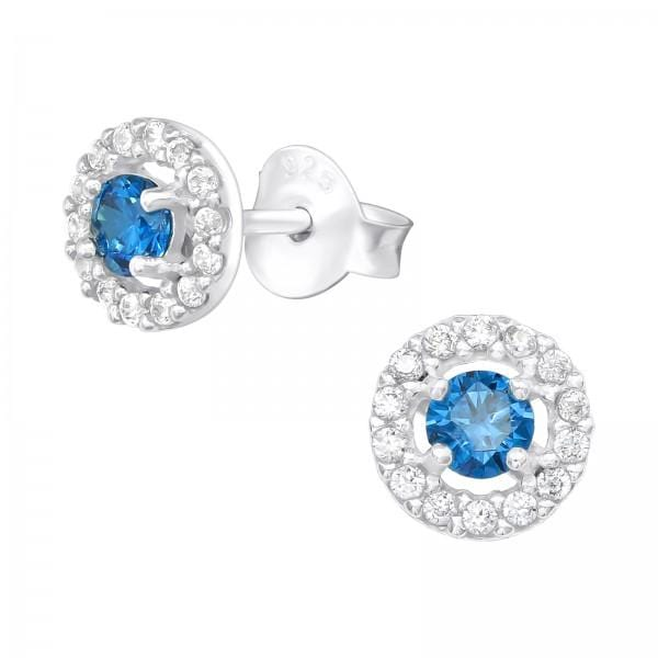 Silver and Blue Ear Studs