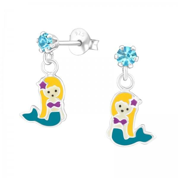 Children's Silver Mermaids Hanging Ear Studs