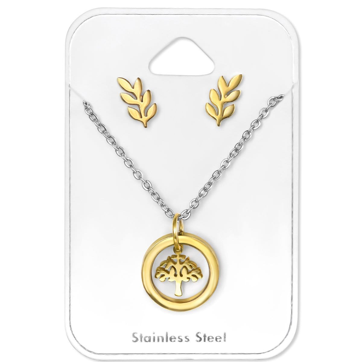 Surgical Steel Gold Plated Tree of Life Necklace jewellery  Set