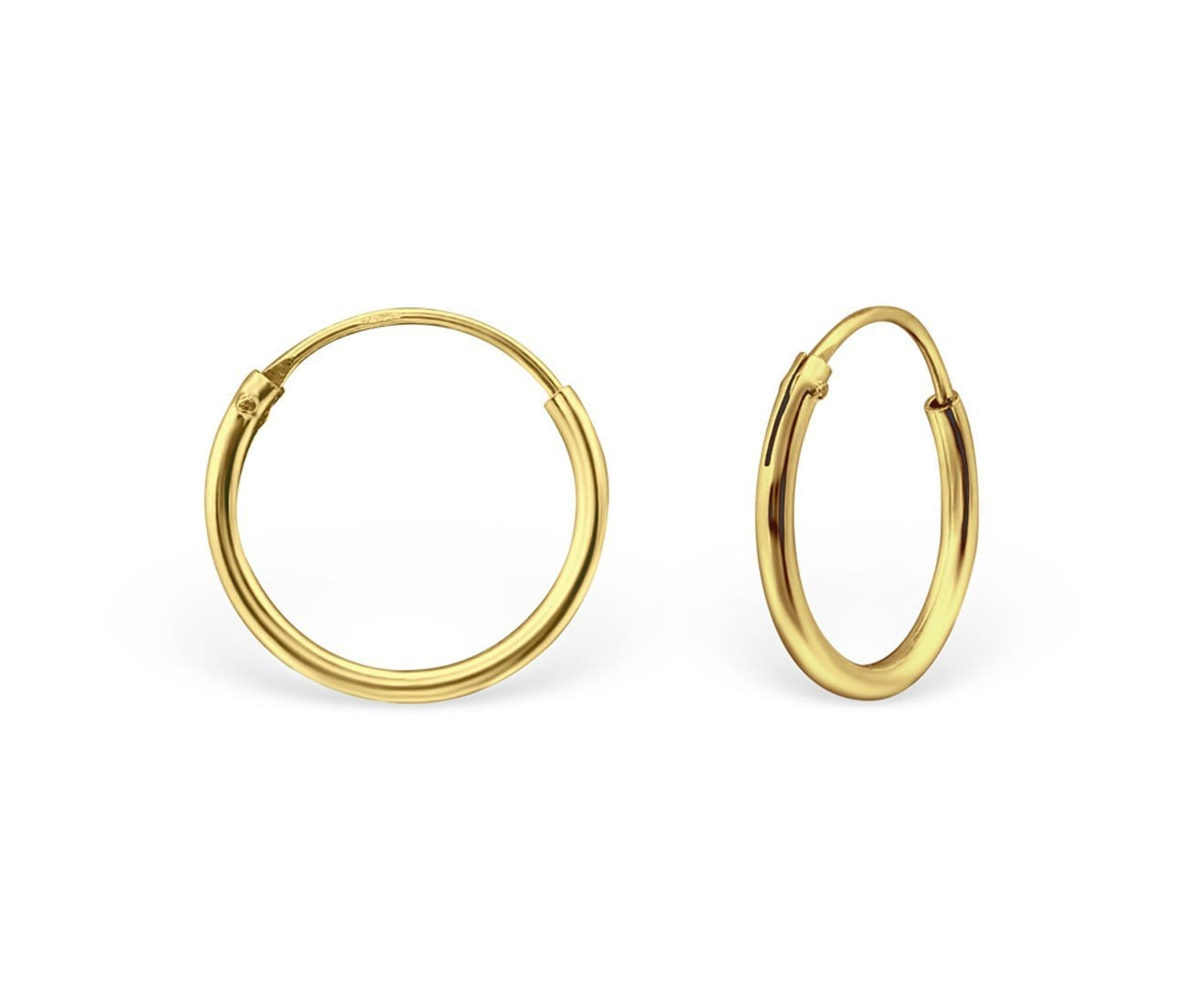 12mm Gold Plated Silver Hoop Earrings