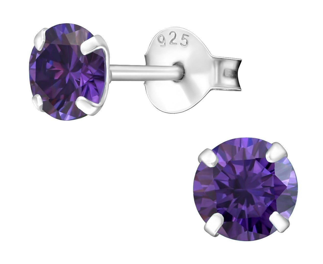 5mm Silver Birthstone Ear Studs