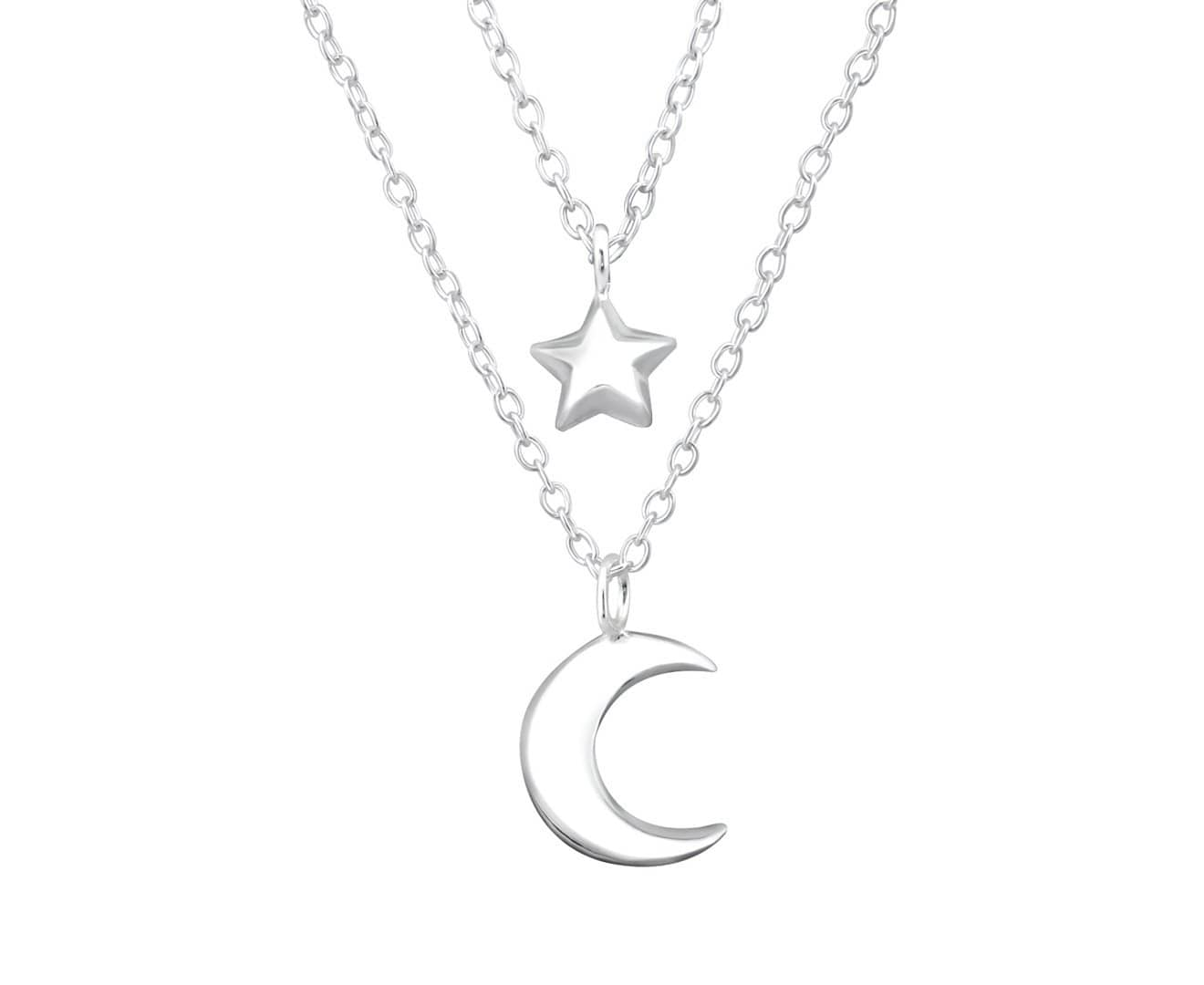 Sterling Silver Moon Star Layer Necklace