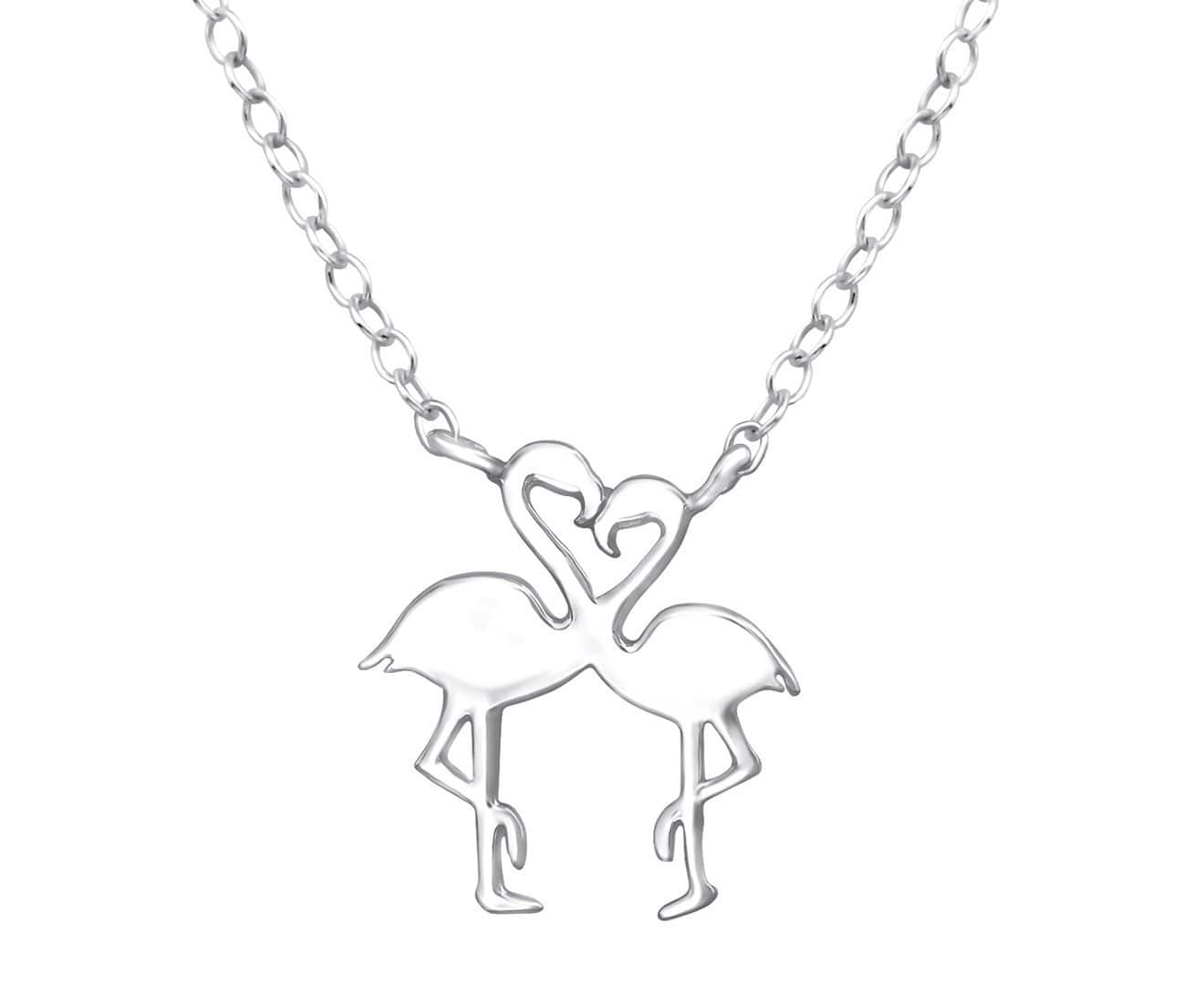 Sterling Silver Flamingo couple Necklace