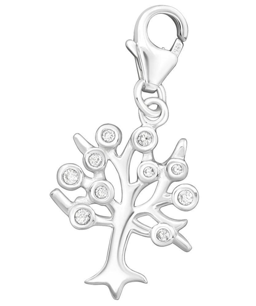 Sterling Silver CZ Tree Of Life Clip on Charm