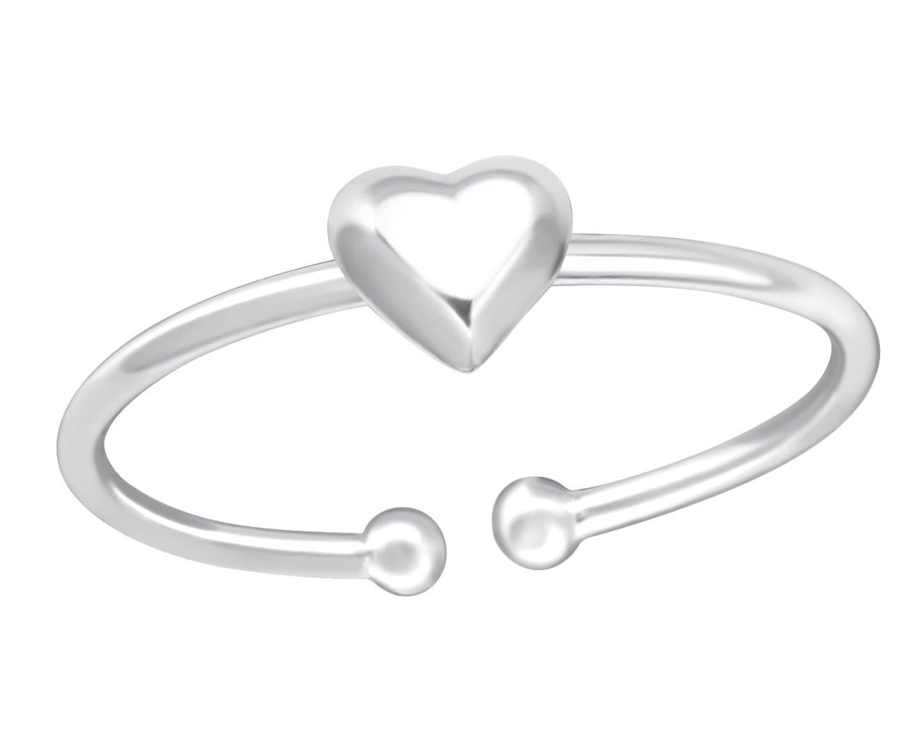Sterling Silver Heart Adjustable Toe Ring