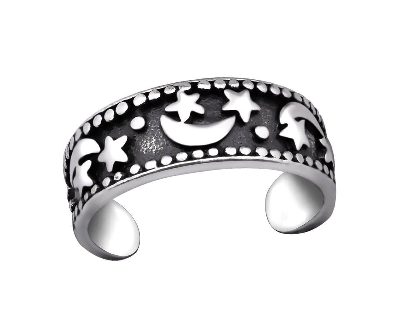 Sterling Silver Moon Star Toe Ring