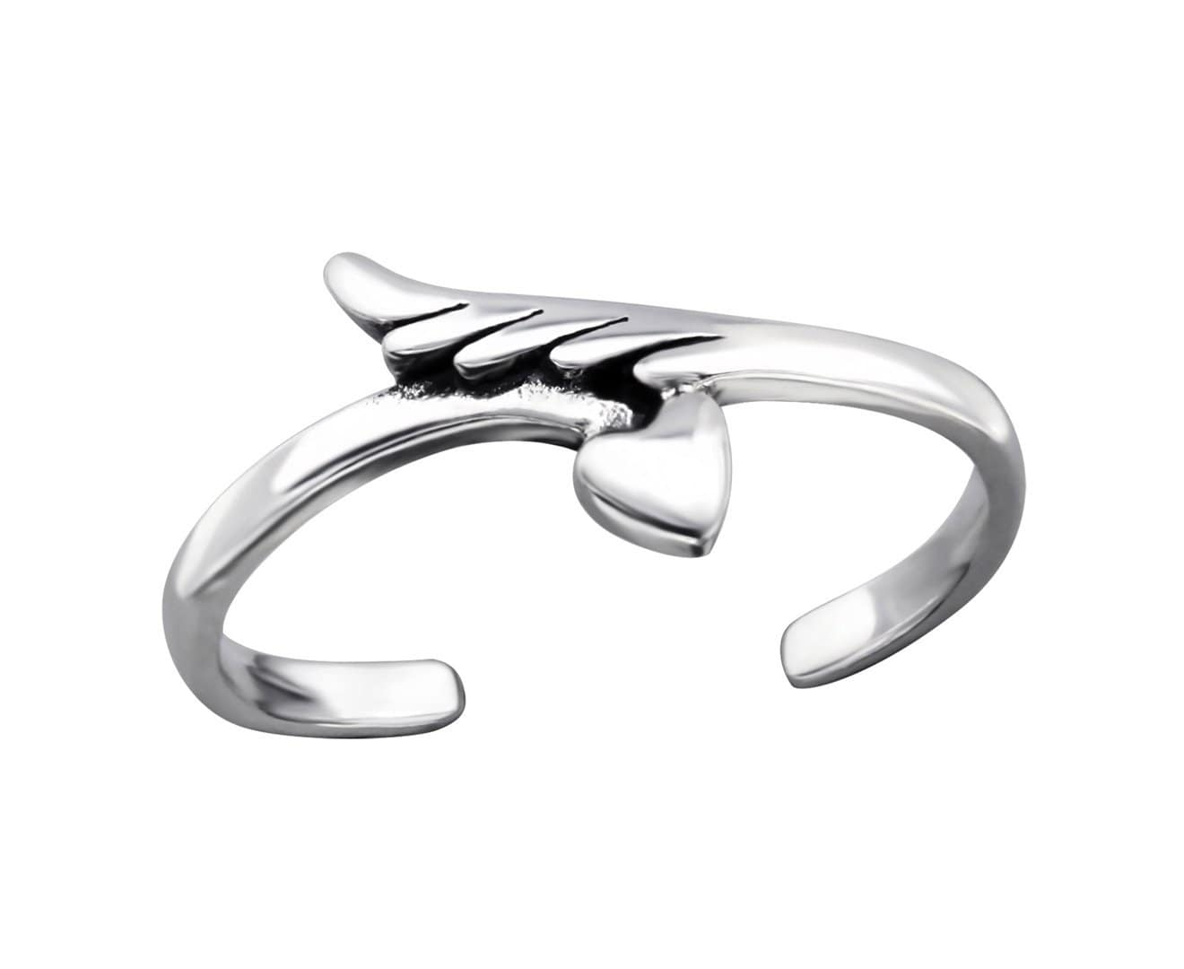 Sterling Silver Feather and Heart Toe Ring