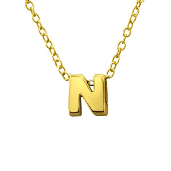 Gold Plated Silver Letter N Necklace