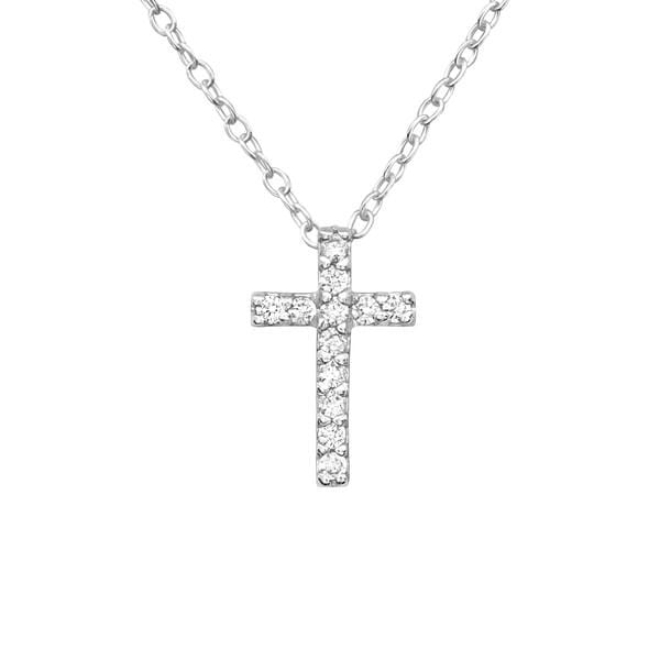 Silver Cross  Pendant Necklace with Cubic Zirconias