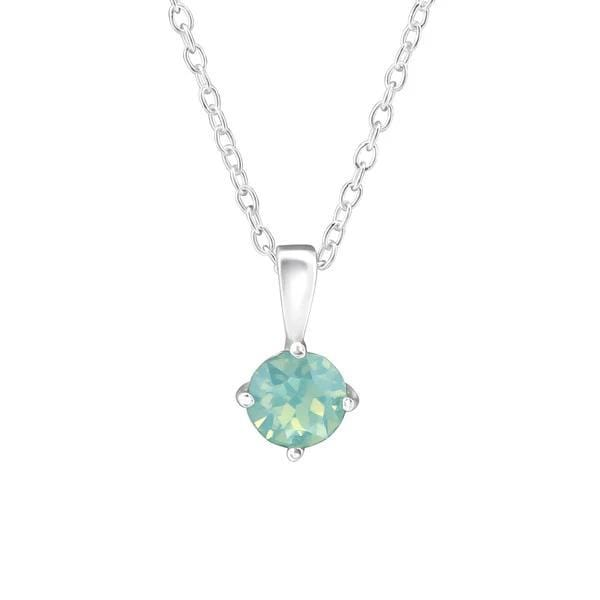 Silver pacific opal Necklace with Swarovski Crystal