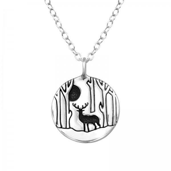Silver Deer Charm Necklace