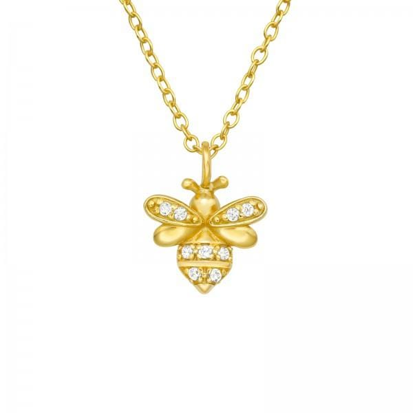 Silver Gold Bee Necklace