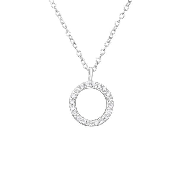 Studded Crystal Circle Necklace