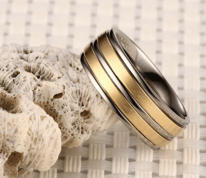 Gold And Silver Groove Titanium Rings