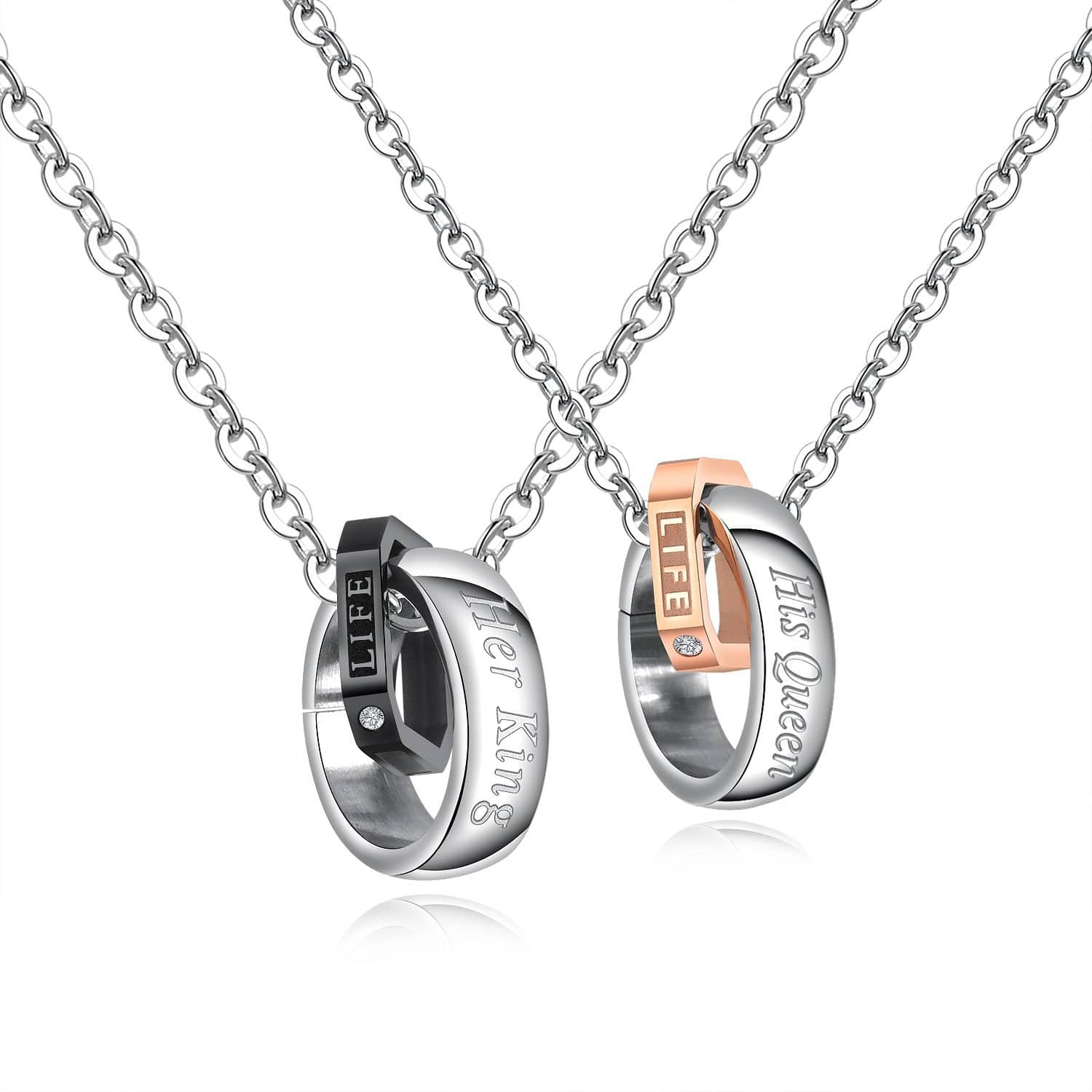 Stainless Steel Her King His Queen Couple Interlocking Necklace