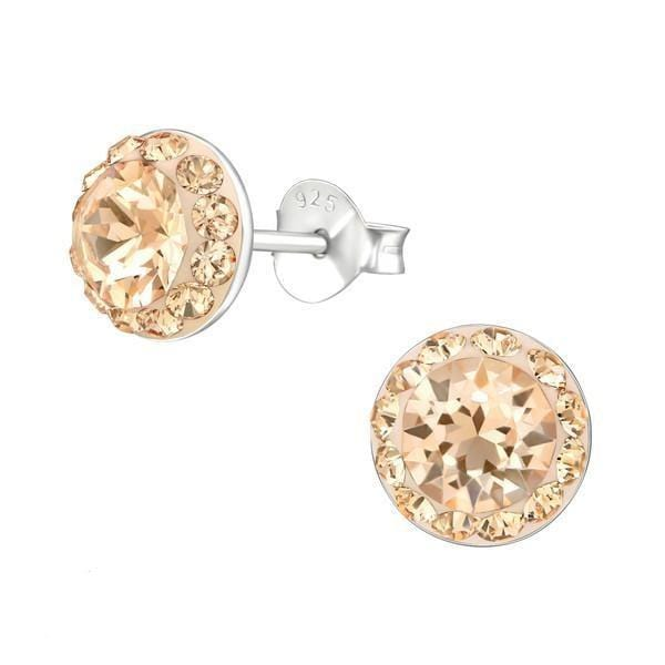 Sterling Silver Round Stud Earrings Made With Swarovski Crystal