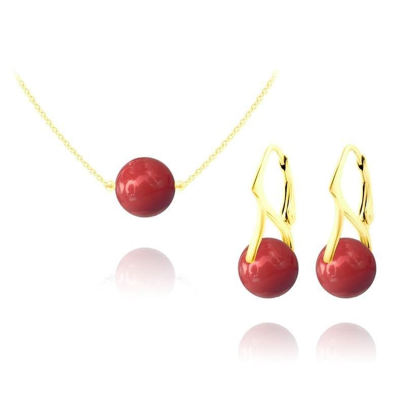 24K Gold  Red Coral  Pearl  Pendant Necklace Jewellery Set