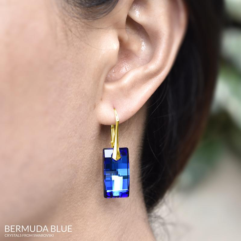 24K Gold Leverback Blue Earrings
