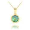 24K Gold Aquamarine Swarovski Crystal  Pendant Necklace