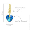 24K Gold Silver Drop Earrings With Blue Crystal Hearts