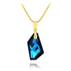24K Gold Blue Crystal Statement  Pendant Necklace