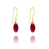 24K Gold Siam Swarovski Crystal Teardrop Earrings