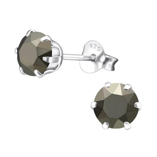 Sterling Silver Stud Earrings  With Swarovski Crystal